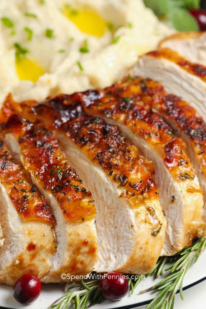 A close up of sliced air fryer turkey breast