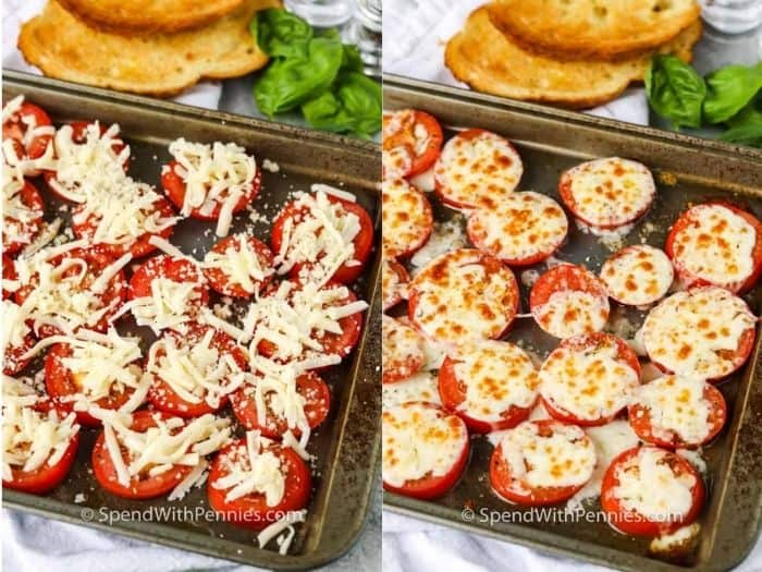 A pan of tomatoes covered with cheese