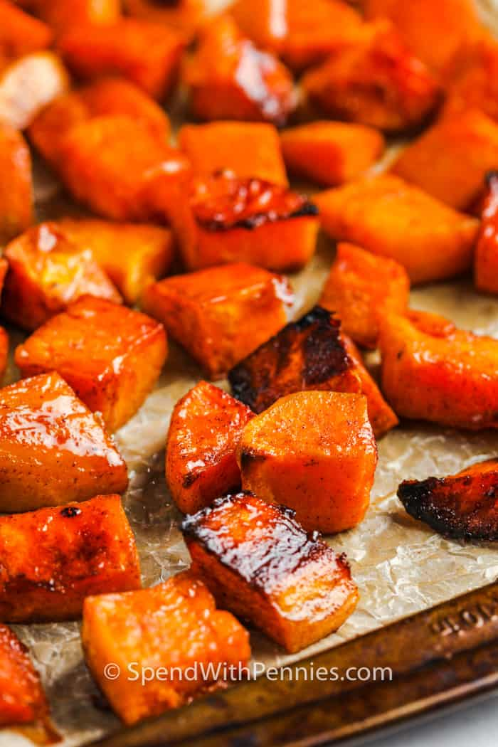 cooked Brown Sugar Roasted Sweet Potatoes