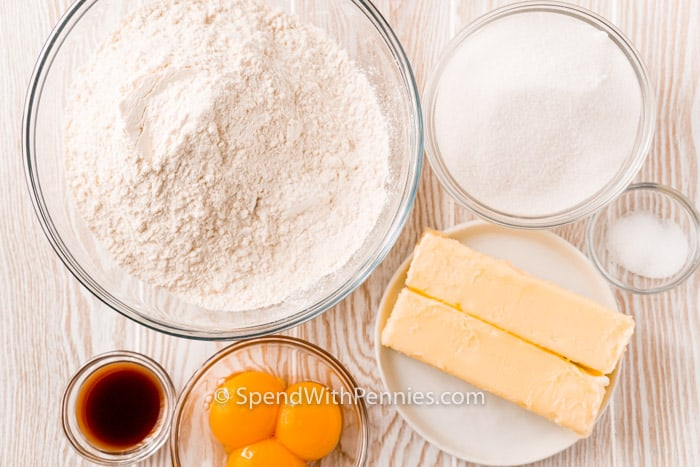 top view of ingredients to make Butter Cookies on a table