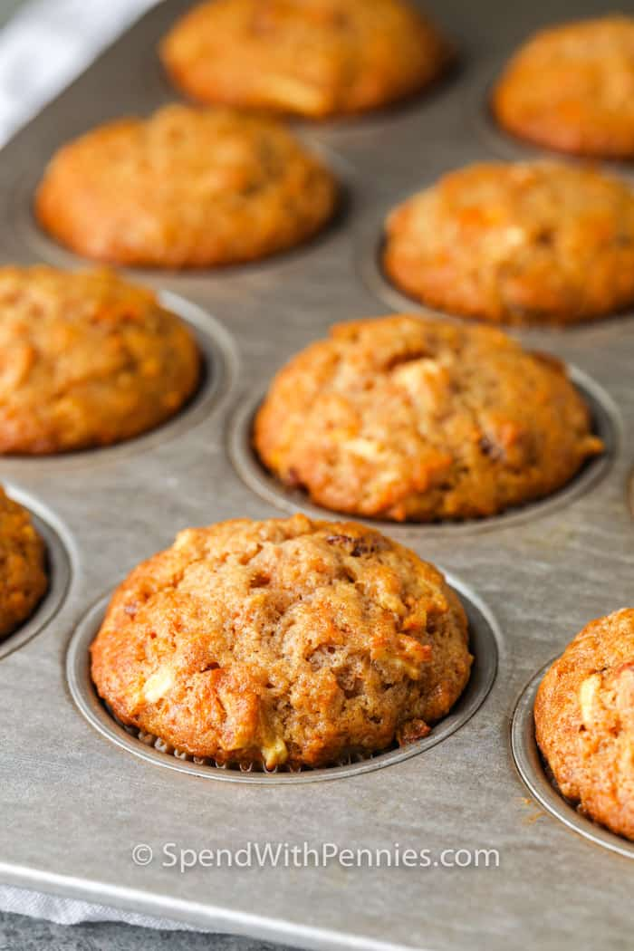 close up of Carrot Muffins in a muffin tin