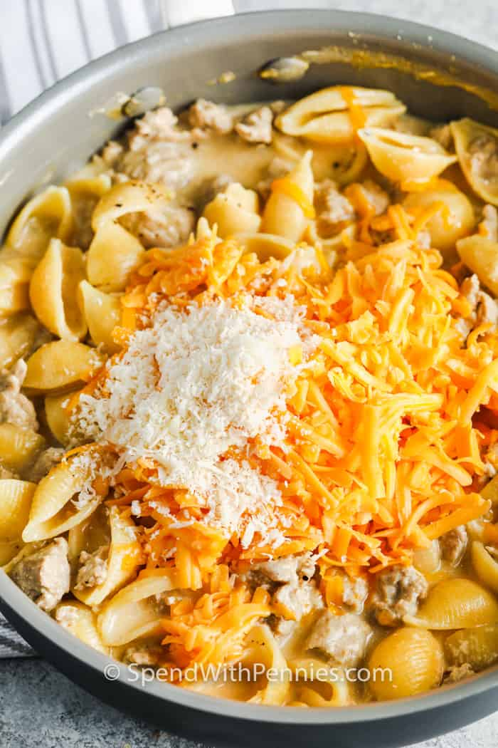 adding cheese to pasta to make Cheesy Ground Turkey Pasta