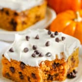 Chocolate Chip Pumpkin Cake on a plate with a slice in the background and pumpkins