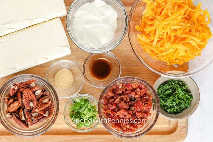 top view of ingredients to make Classic Cheese Ball