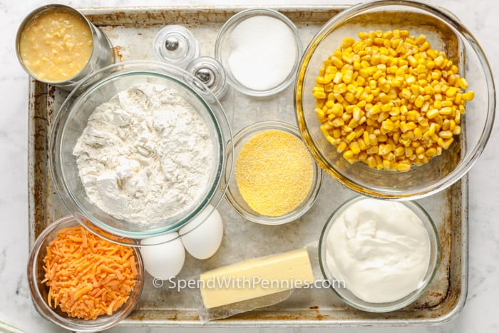 top view of ingredients to make Cornbread Casserole