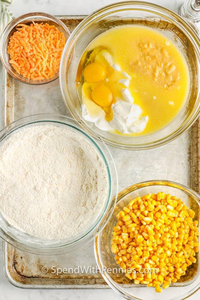 ingredients on a sheet to make Cornbread Casserole