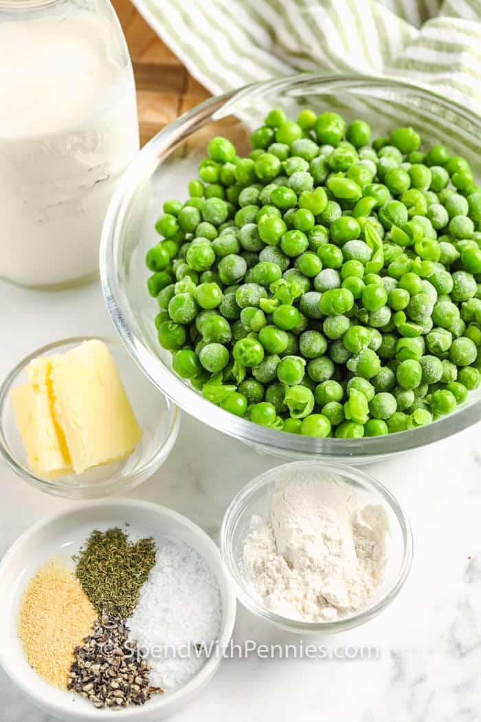 ingredients to make Creamed Peas