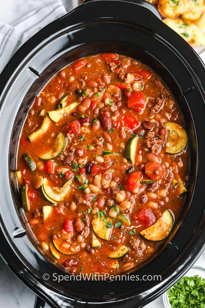 top view of cooked Crock Pot Italian Bean Soup