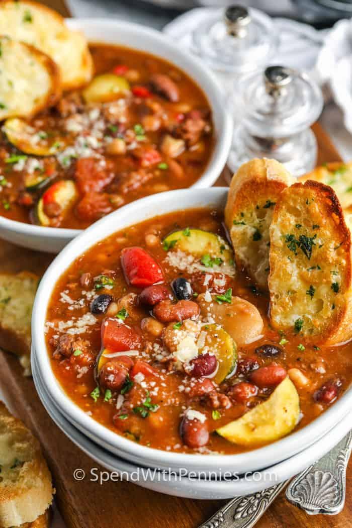 Crock Pot Italian Bean Soup bowls with bread
