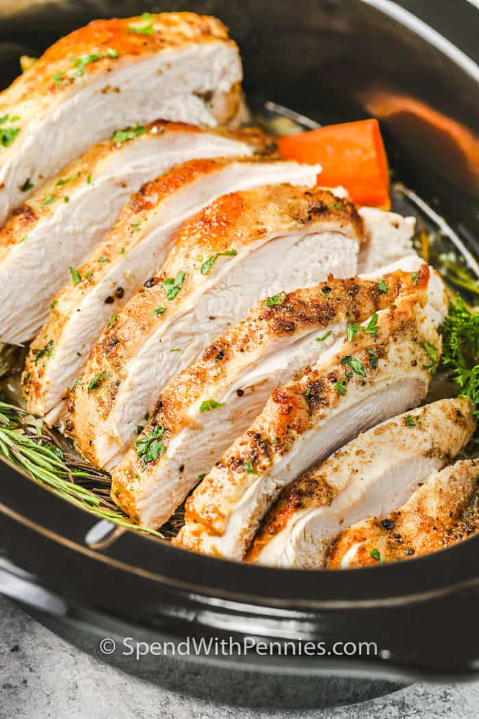 close up of cooked Crockpot Turkey Breast in the crock pot
