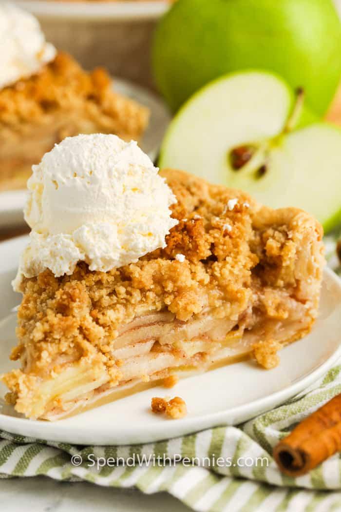 slice of Dutch Apple Pie with ice cream