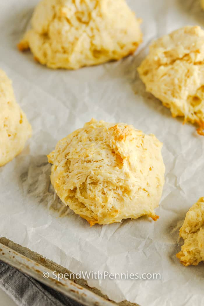 close up of cooked Easy Drop Biscuits