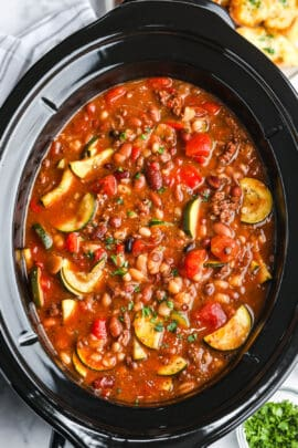 close up on top view of cooked Crock Pot Italian Bean Soup