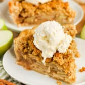 Dutch Apple Pie on a plate with another slice in the background