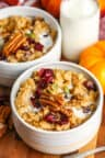 close up of two bowls of Pumpkin Oatmeal