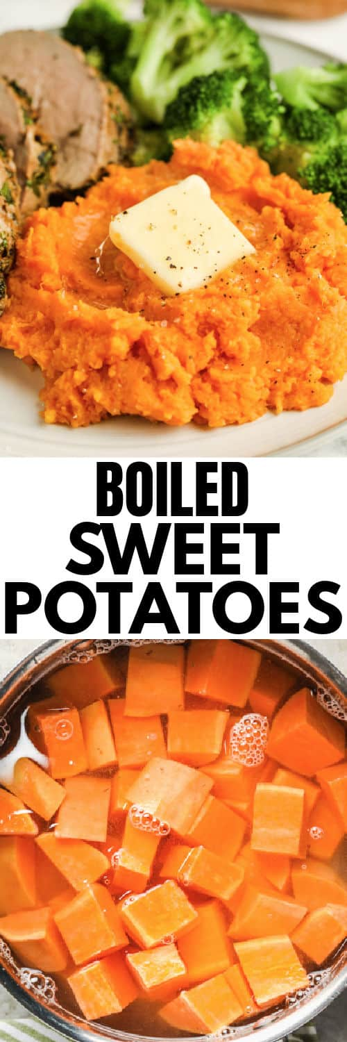 sweet potatoes in water before boiling and final plated dish with a title