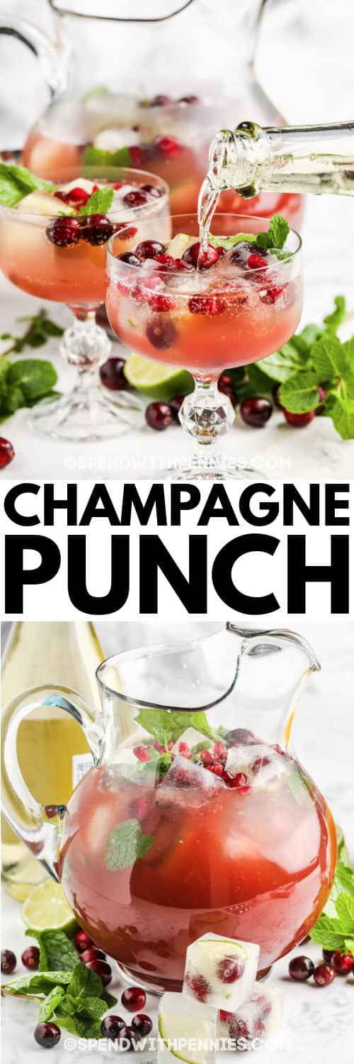Champagne Punch in a jug and pouring into a glass with a title