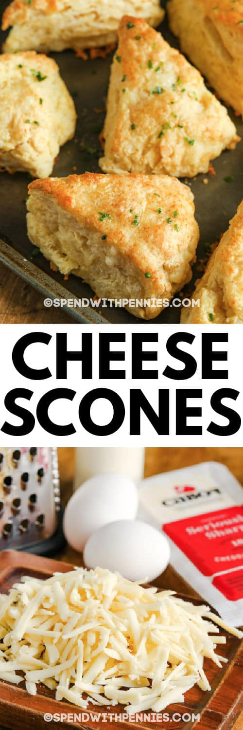ingredients to make Cheese Scones with finished dish and title