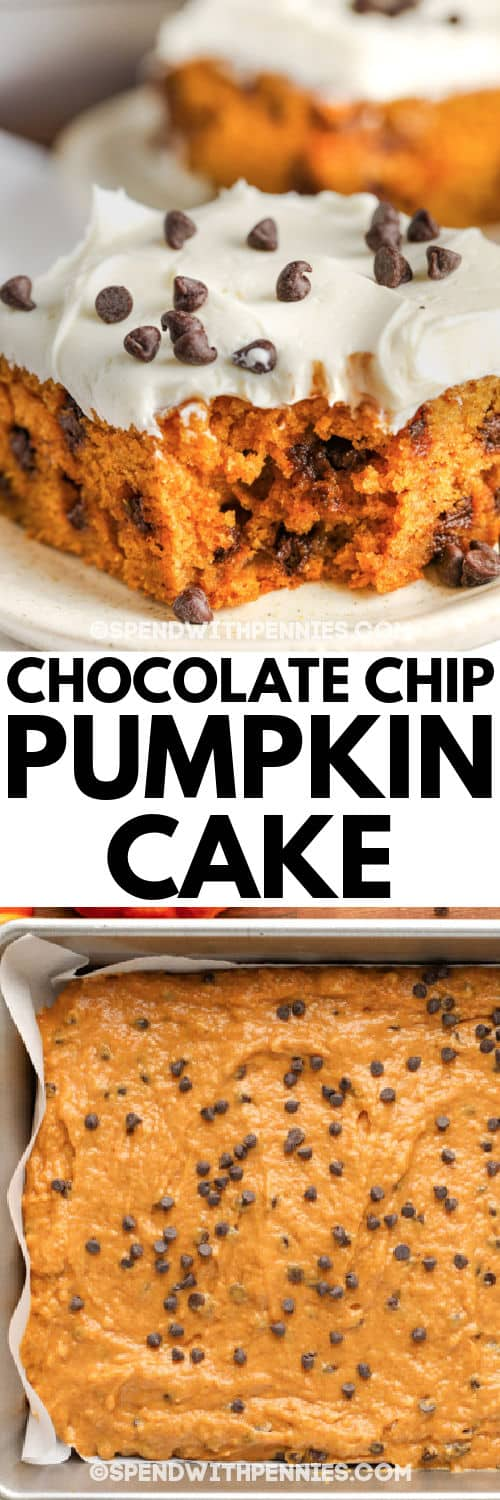 Chocolate Chip Pumpkin Cake in the pan before baking and sliced on a plate after baking with a title