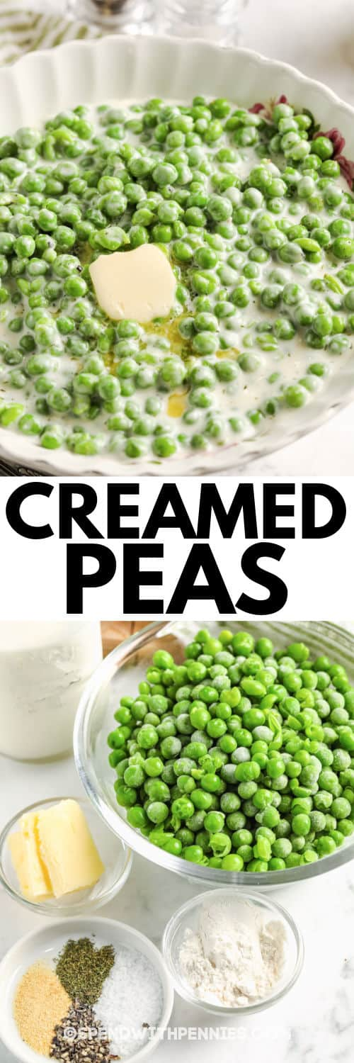 ingredients to make Creamed Peas with finished dish