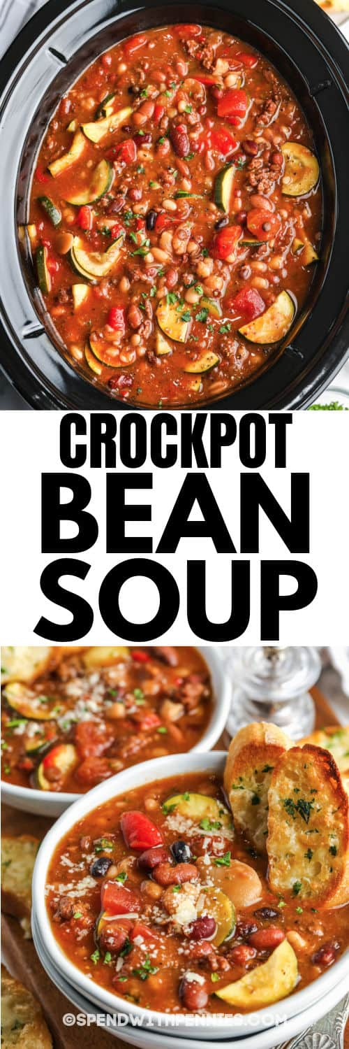 Crock Pot Italian Bean Soup in the crockpot and plated with a title