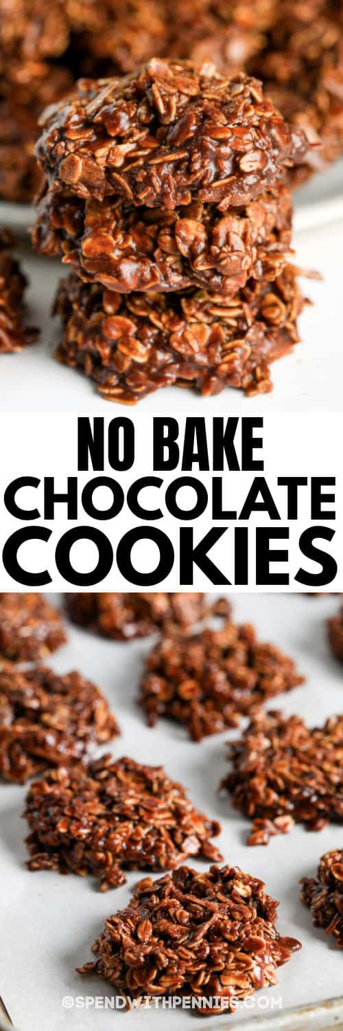 No Bake Chocolate Cookies (Nut Free) with a title