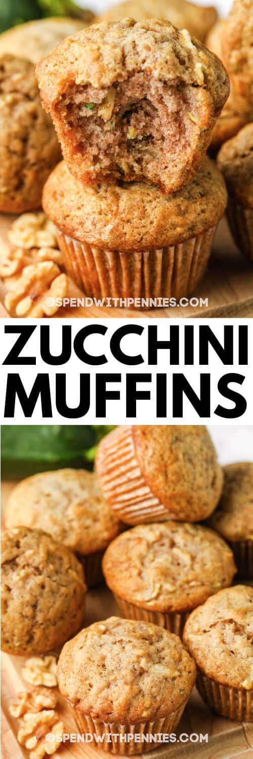 Zucchini Chocolate Chip Muffins with a title