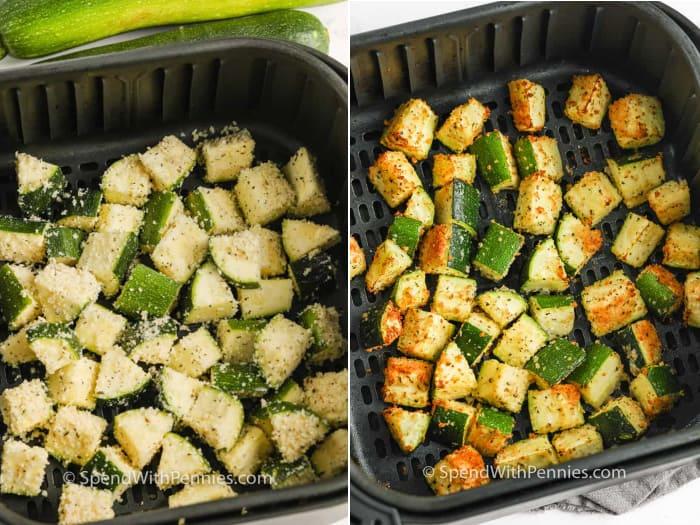 zucchini in an air fryer basket