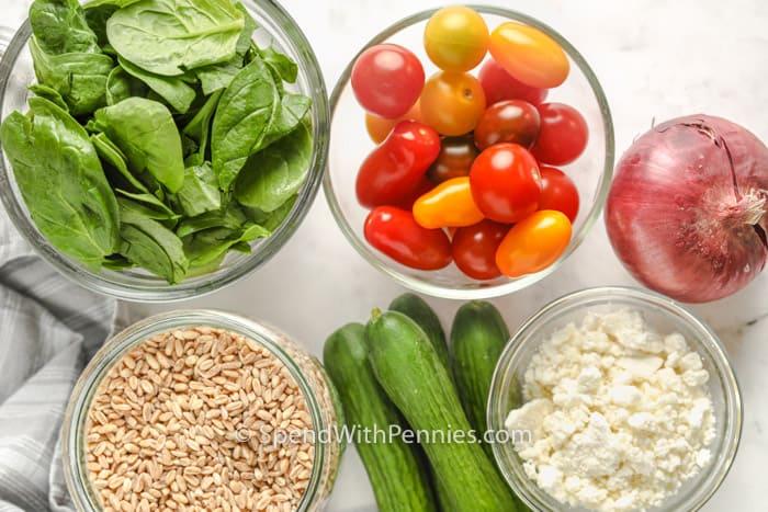 ingredients to make Mediterranean Farro Salad
