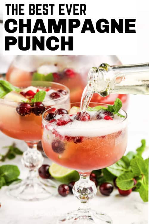 Champagne Punch in glasses with writing
