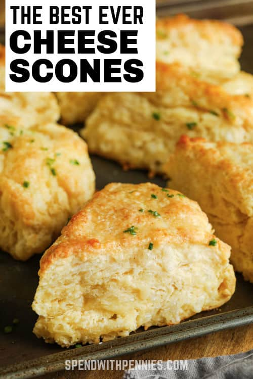 Cheese Scones on a baking sheet with writing