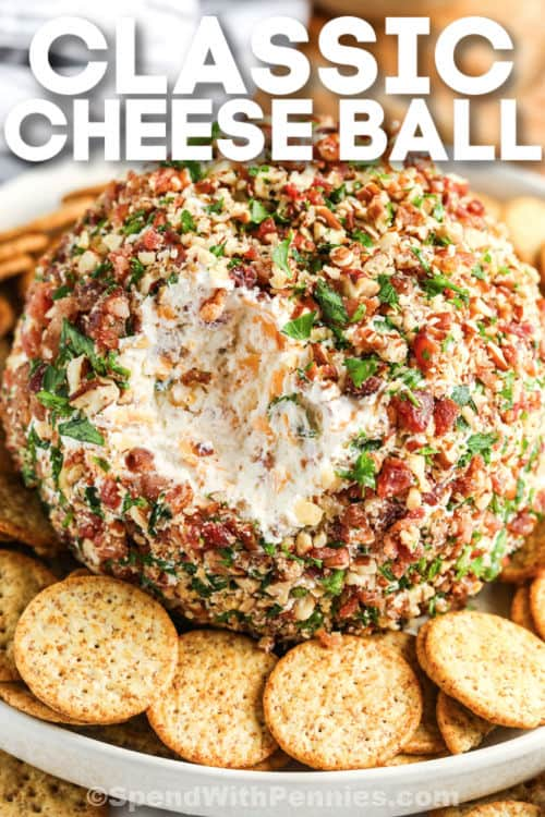 Classic Cheese Ball with crackers and writing