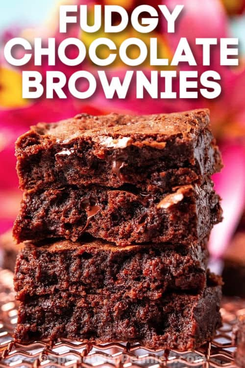 Fudgy Chocolate Brownies on a cooling rack with writing