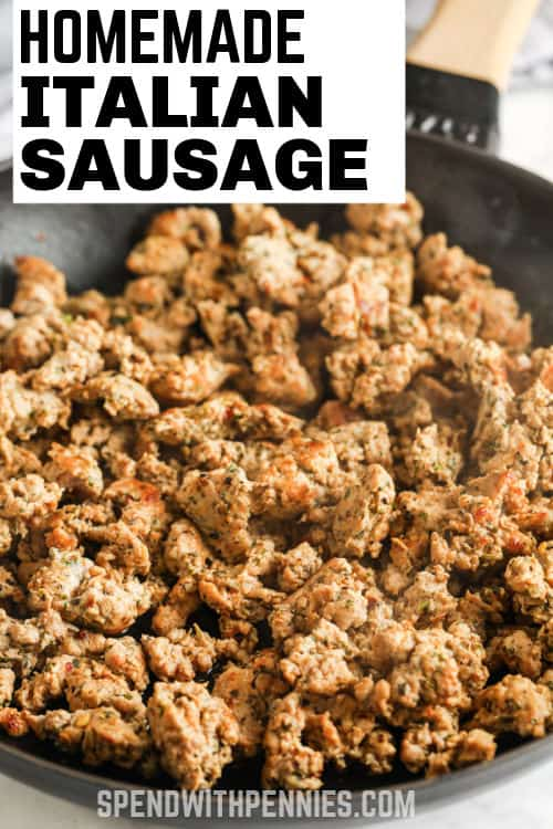 cooked Homemade Italian Sausage with writing