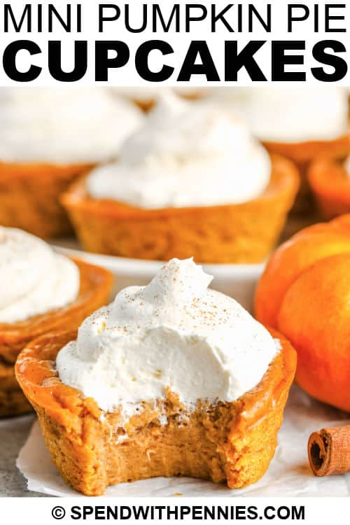 mini pumpkin pie cupcake with a bite taken out of it and a title