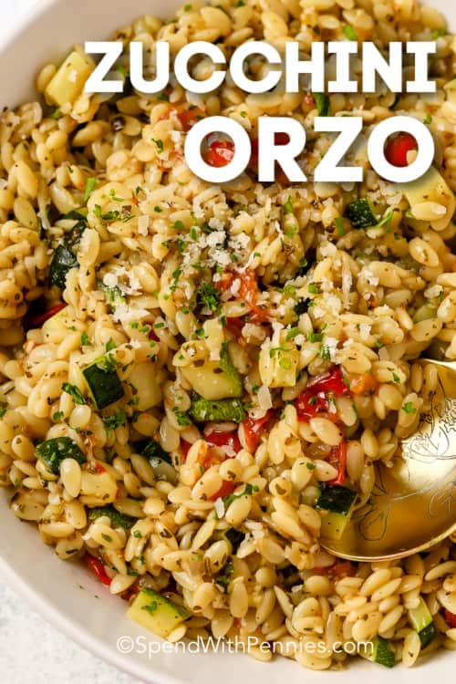 Serving zucchini orzo with a title