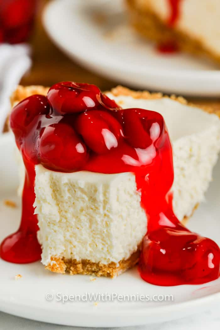 close up of a slive of No Bake Cheesecake with a bite out of it