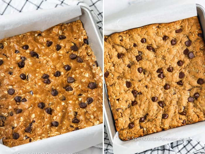 raw and baked oatmeal bars