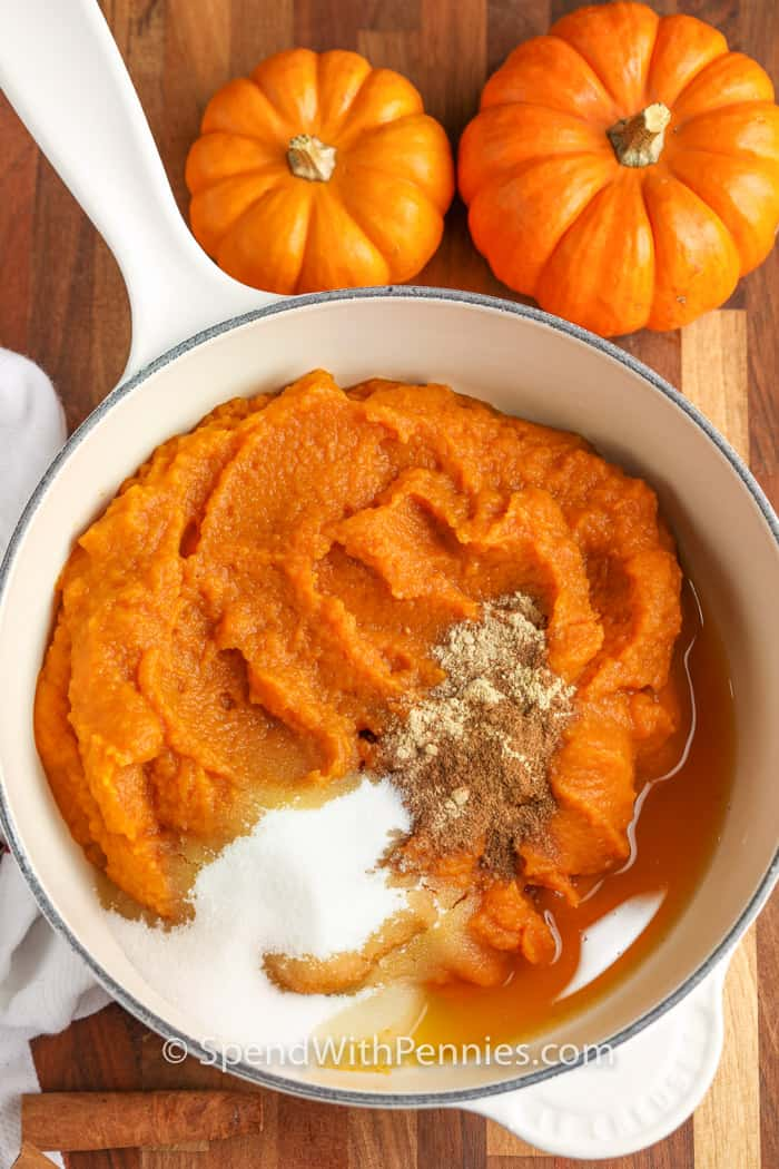 ingredients to make Pumpkin Butter in a pot before mixing
