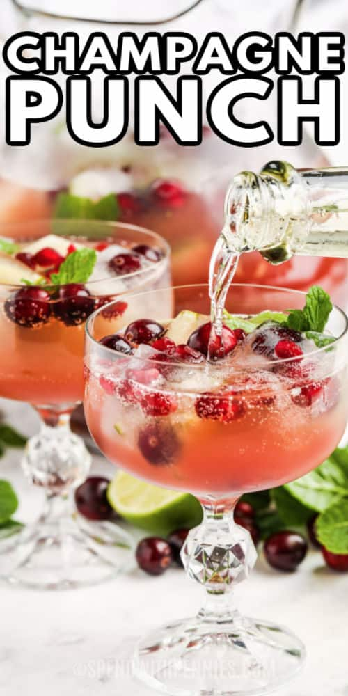 puring champagne in punch to make Champagne Punch