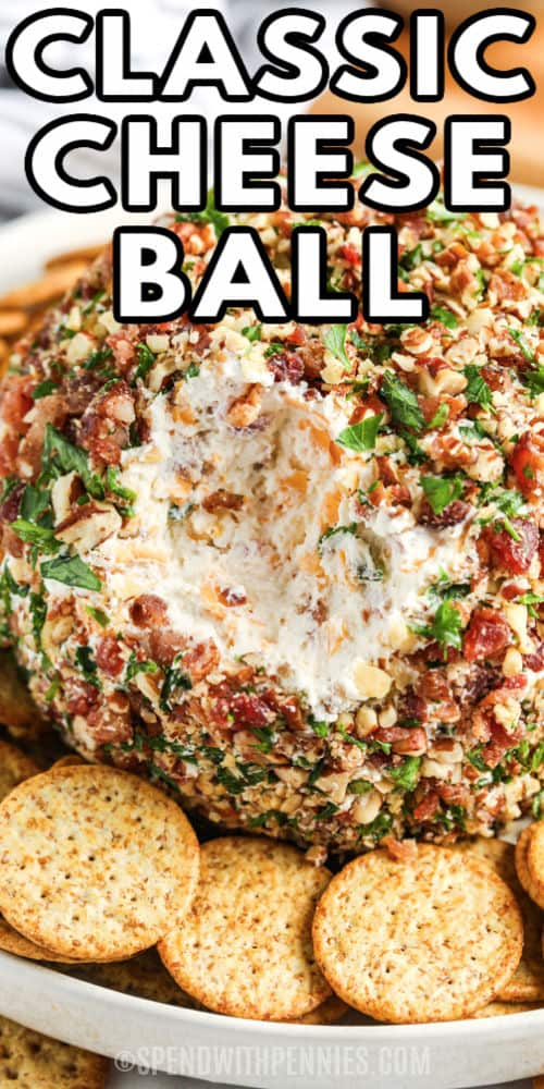 Classic Cheese Ball with a bite taken out with a title