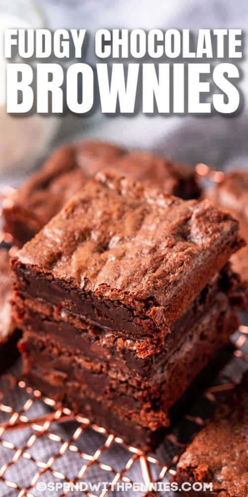 Fudgy Chocolate Brownies on a cooling rack with a title