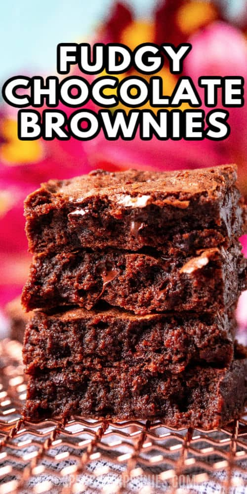 pile of Fudgy Chocolate Brownies with a title