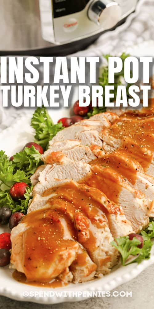 plated Instant Pot Turkey Breast with a title