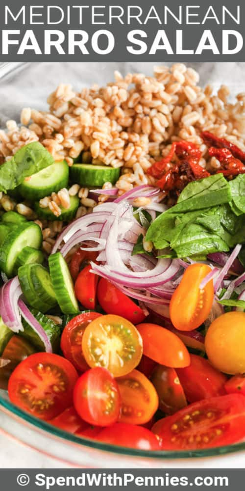 ingredients to make Mediterranean Farro Salad with a title
