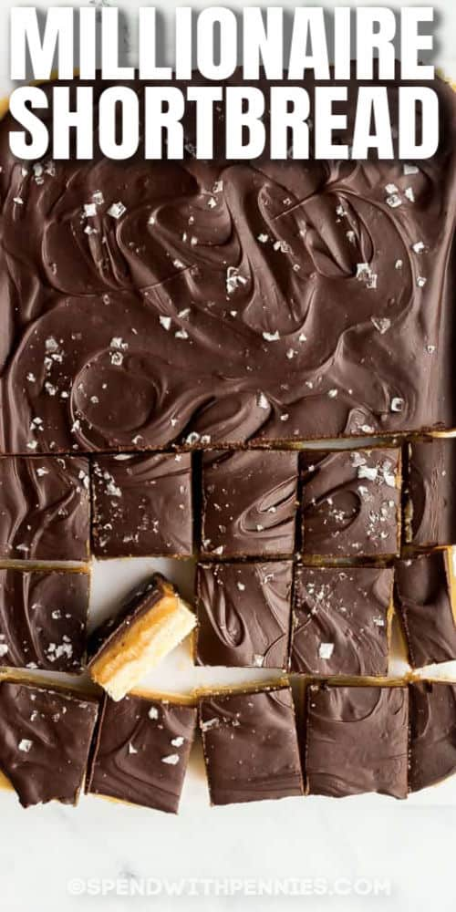 cut up Millionaire Shortbread with writing
