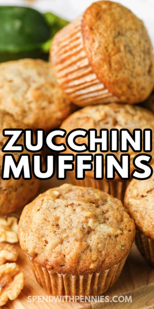 pile of Zucchini Chocolate Chip Muffins