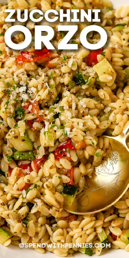 Close up of zucchini orzo being served with a title