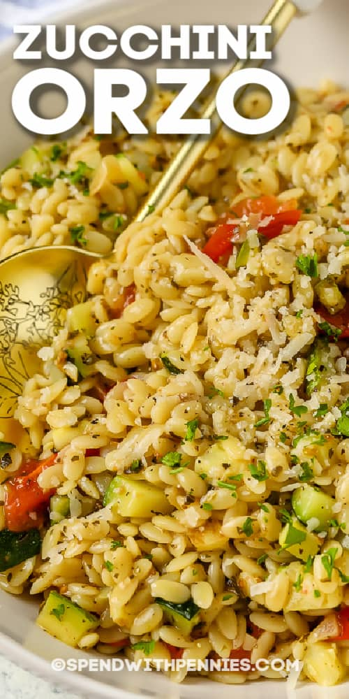 a bowl of zucchini orzo with a title