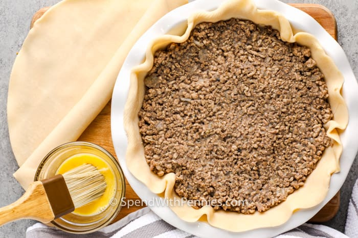 process of making a Savory Meat Pie-Tourtiere